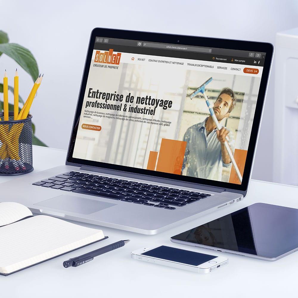 solnet réalisation homepage charte graphique par agence web cyberscope
