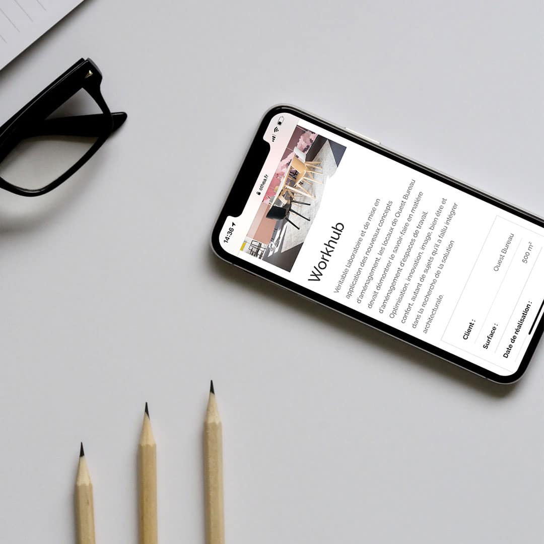 othea realisation du site internet mockup iphone x