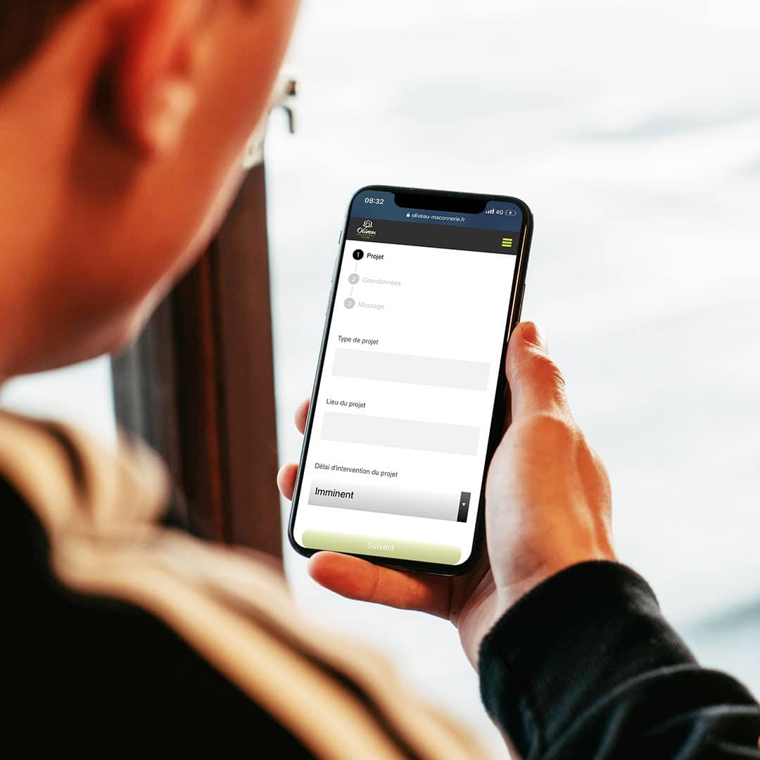 oliveau maconnerie vue mobile projet contact